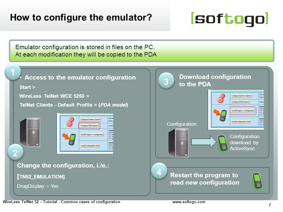 28 WireLess TelNet 52 – Tutorial - Common cases of configuration www.softogo.com Options to configure wait timeouts and simulate a dialog How-to avoid end of session.