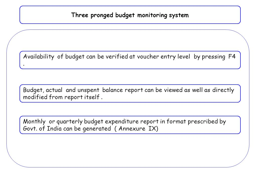 Three pronged budget monitoring system Availability of budget can be verified at voucher entry level by pressing F4. Budget, actual and unspent balanc