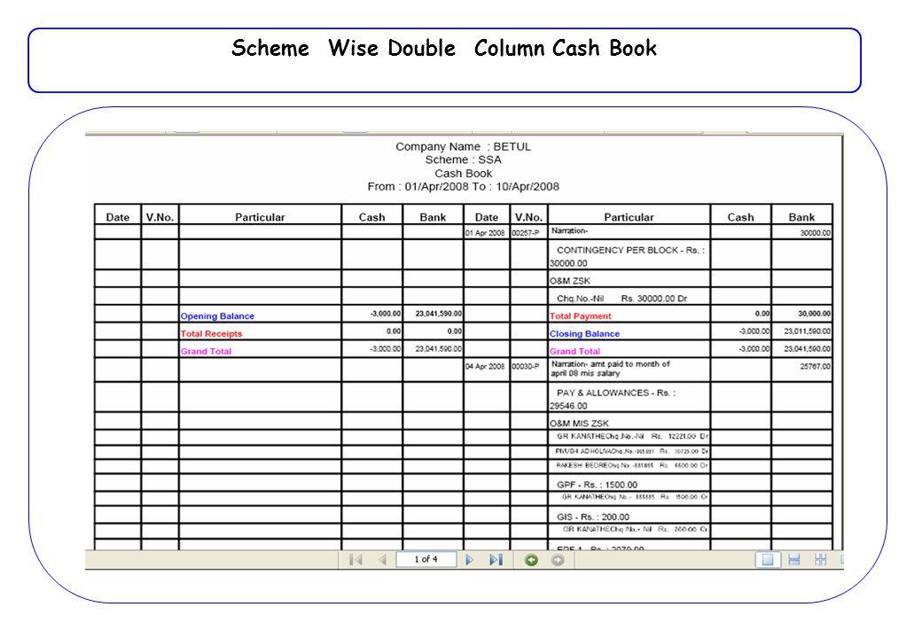 Scheme Wise Double Column Cash Book