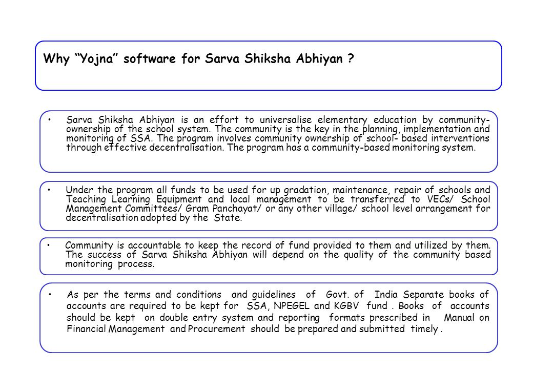 "Why ""Yojna"" software for Sarva Shiksha Abhiyan ? Sarva Shiksha Abhiyan is an effort to universalise elementary education by community- ownership of th"