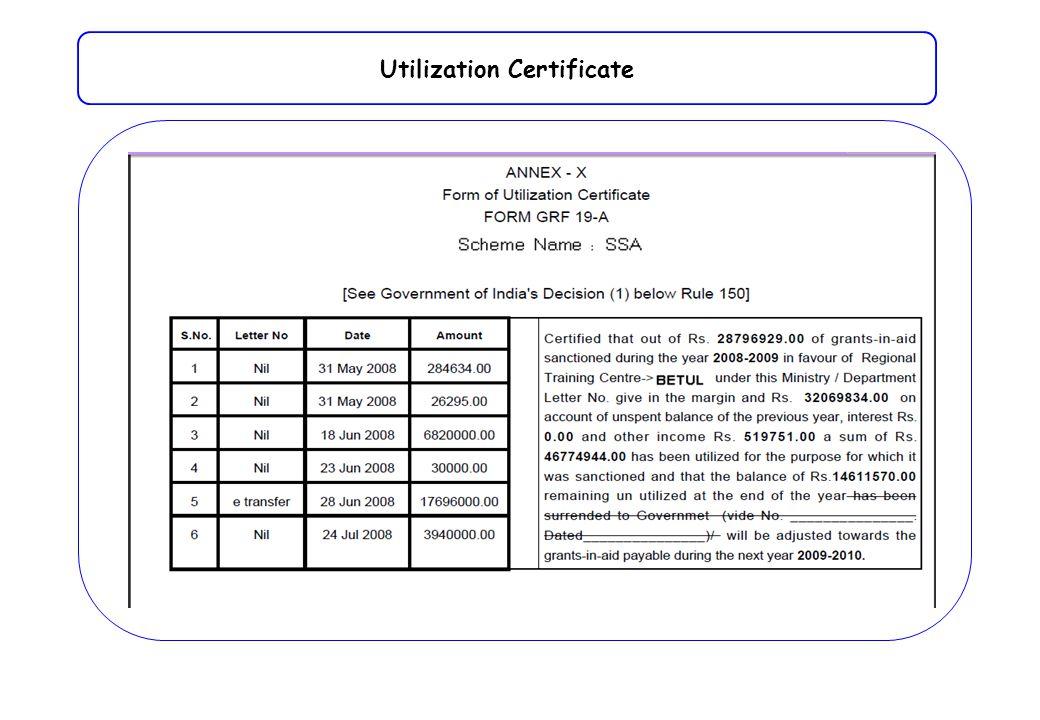 Utilization Certificate