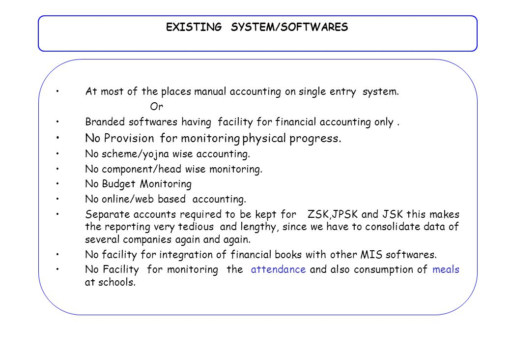 At most of the places manual accounting on single entry system.