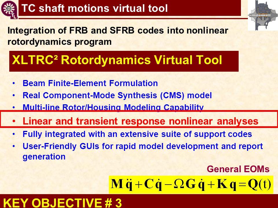 TC shaft motions virtual tool XLTRC² Rotordynamics Virtual Tool Beam Finite-Element Formulation Real Component-Mode Synthesis (CMS) model Multi-line R