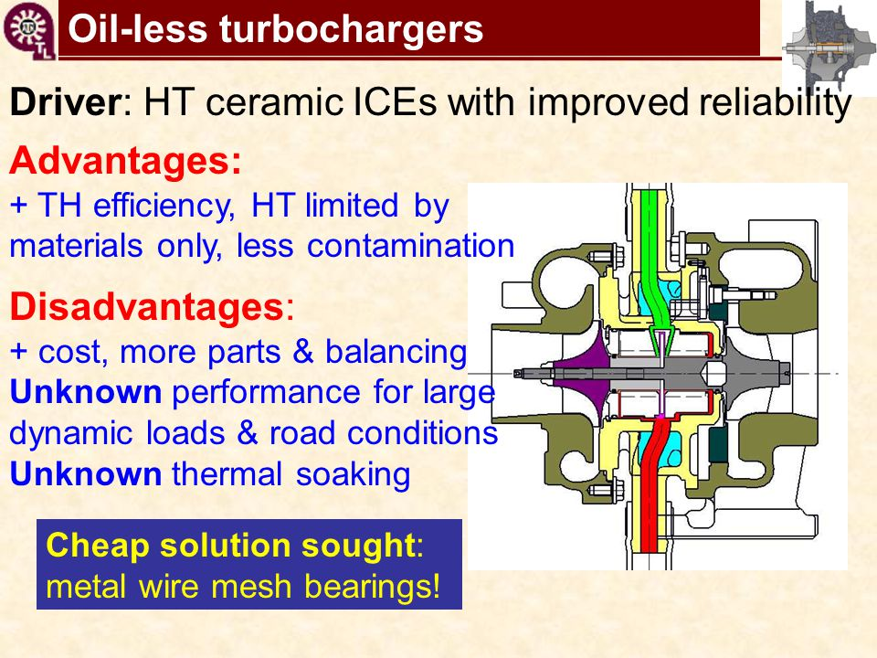 TC shaft motions virtual tool Oil-less turbochargers Driver: HT ceramic ICEs with improved reliability Advantages: + TH efficiency, HT limited by mate