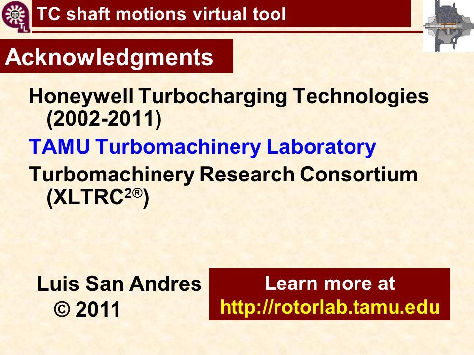 TC shaft motions virtual tool Acknowledgments Honeywell Turbocharging Technologies (2002-2011) TAMU Turbomachinery Laboratory Turbomachinery Research
