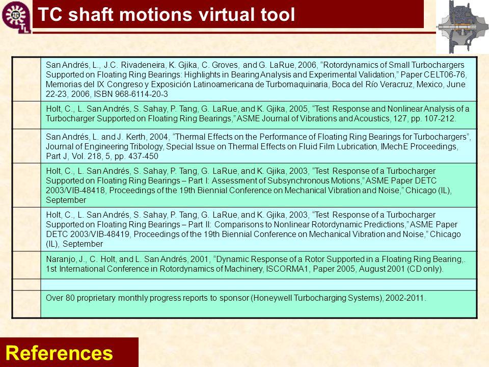"TC shaft motions virtual tool References San Andrés, L., J.C. Rivadeneira, K. Gjika, C. Groves, and G. LaRue, 2006, ""Rotordynamics of Small Turbocharg"