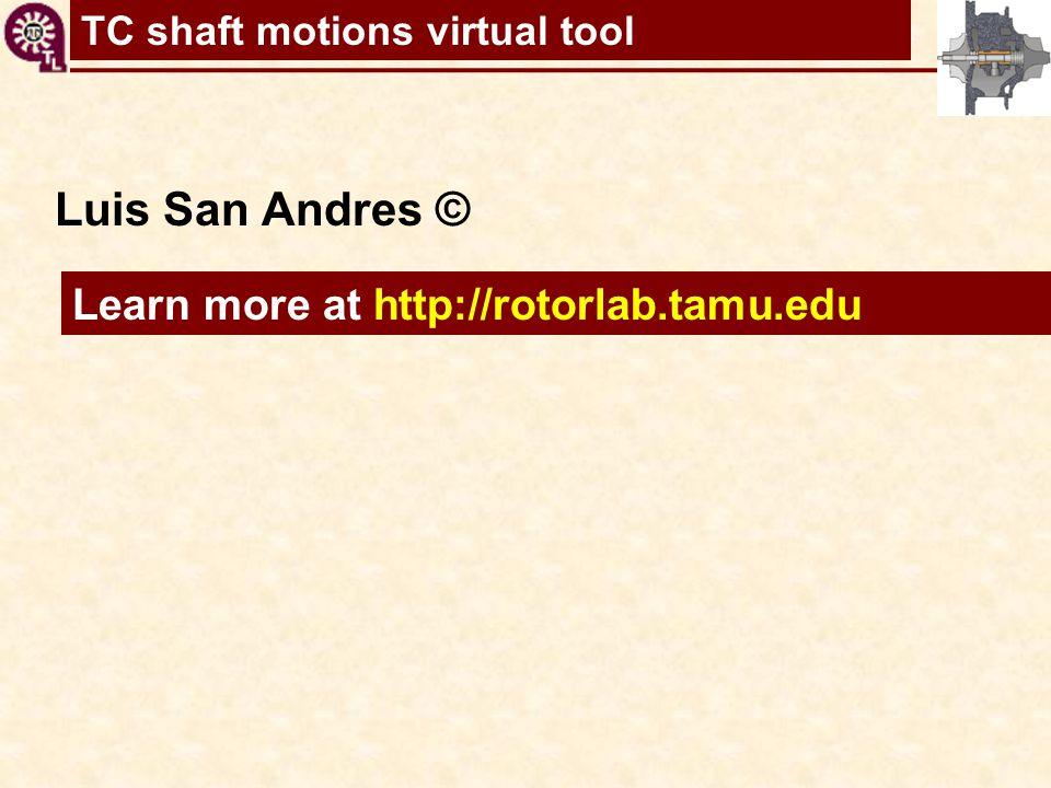 TC shaft motions virtual tool Learn more at http://rotorlab.tamu.edu Luis San Andres ©