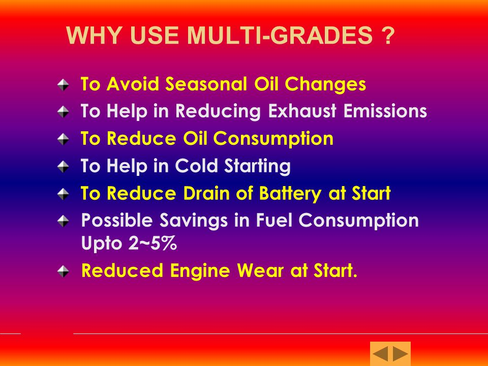SA Oil without additive SB Formerly for Utility Gasoline and Diesel Service under very mild conditions SC Oil with some anti-oxidation & anti- scuff capabilities SD Minimum duty Gasoline engine Service SE Oil providing control of high and low temperature sludge deposit, wear, rust and corrosion in gasoline engines S Service Station Classifications