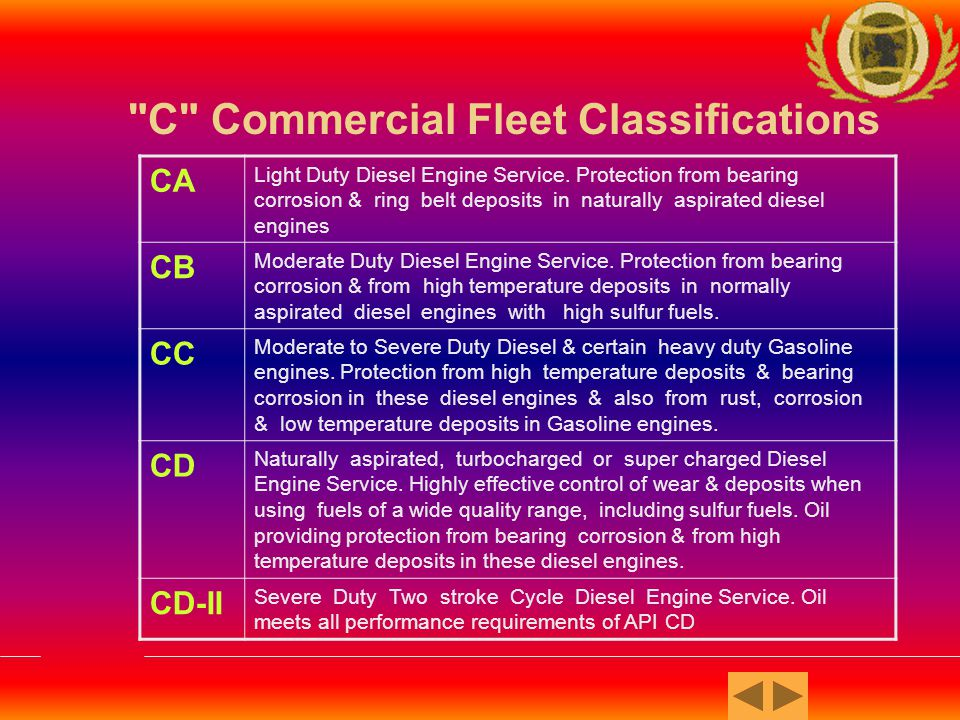 C Commercial Fleet Classifications CE Diesel Engine service for certain turbo-charged or supercharged heavy duty diesel engine operated under both slow speed, high load & high speed, high load conditions.