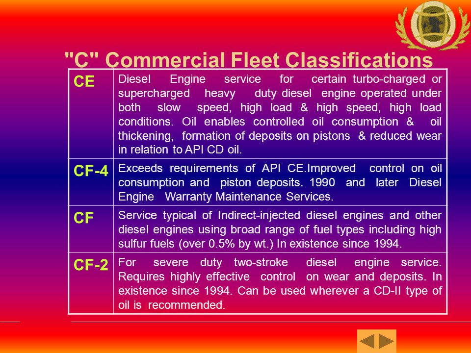 C Commercial Fleet Classifications CG-4 For use in high-speed four-stroke diesel engines used in both on heavy-duty on-highway (0.05% wt.