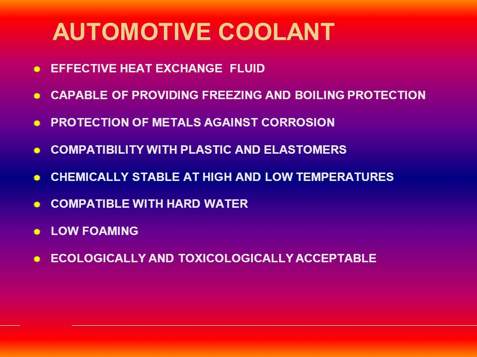 SPECIAL FEATURES Ready to use Radiator Coolant with Anti Freeze & Anti Corrosive Properties SPECIFICATIONS: Meets JIS K 2234 of 1994 APPLICATION AREAS: All Diesel Vehicles,Passenger cars,Jeeps,Vans & Tempos COMPOSITION 30 % Concentration PERFORMANCE BENEFITS : Effective Cooling Good Chemical Stability Excellent Protection against Rust & Corrosion HP THANDA RAJA
