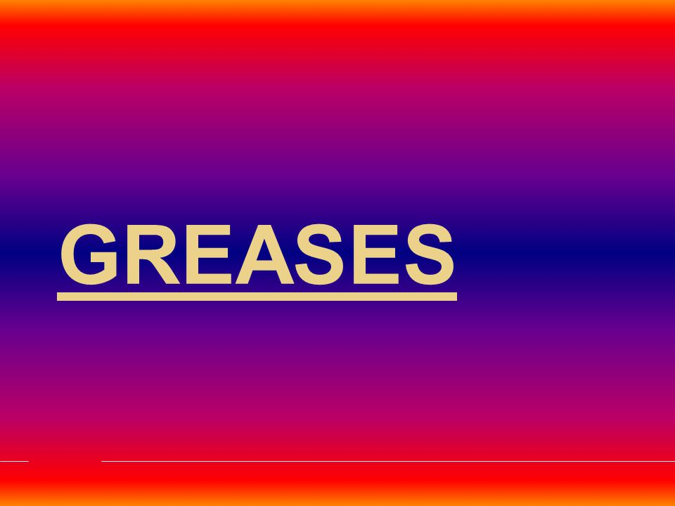 Grease is defined as a solid or semi- fluid product which is a dispersion of a thickening agent in a liquid lubricant along with some additives.
