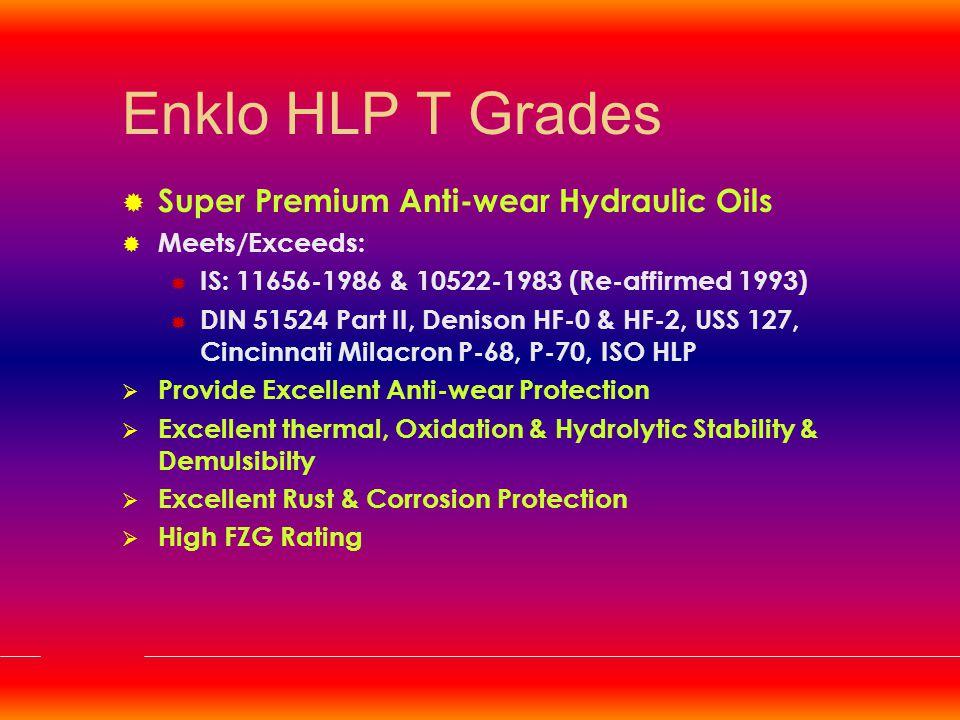Fire Resistant Hydraulic Fluids  Enklo FRIE 68  Enklo FRIE 100  Enklo FRIE 150  Enklo FRWG 22  Enklo FRWG 46  Enklo FRWG 68