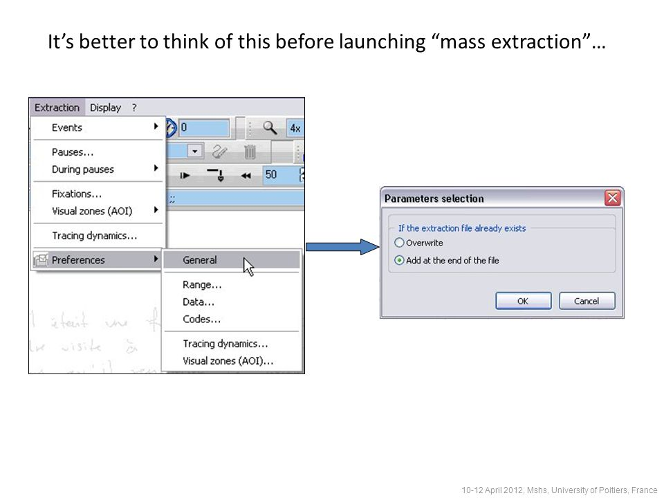It's better to think of this before launching mass extraction … 10-12 April 2012, Mshs, University of Poitiers, France