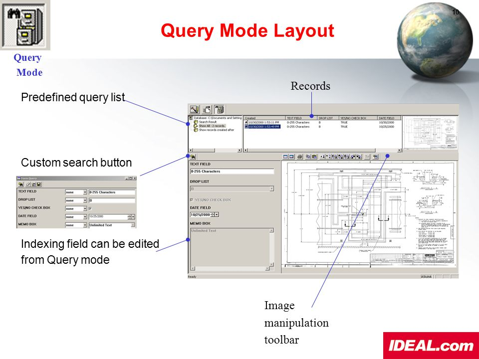 Predefined query list Custom search button Indexing field can be edited from Query mode Query Mode Layout Records Image manipulation toolbar Query Mod