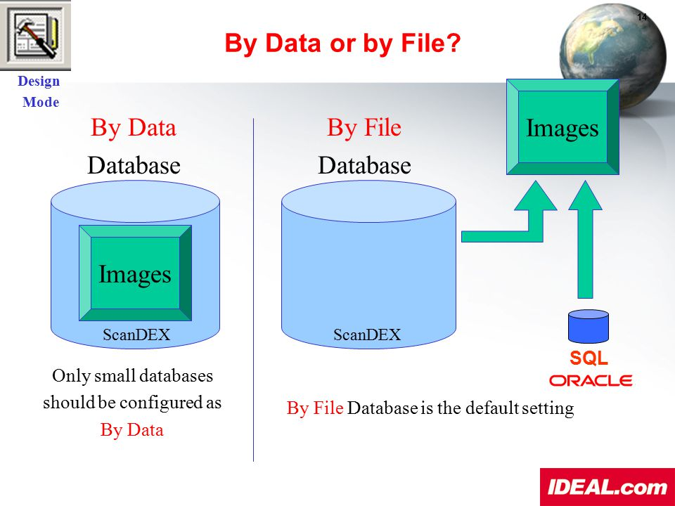 By Data Database By File Database Images SQL By File Database is the default setting Only small databases should be configured as By Data ScanDEX Desi