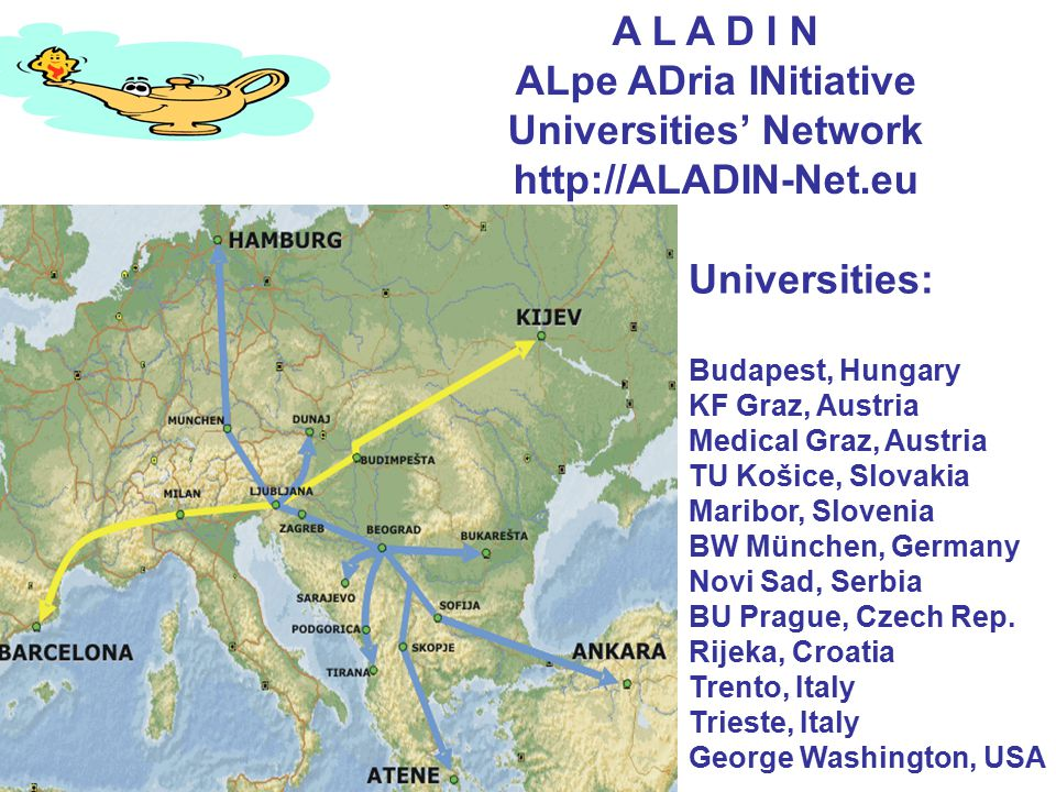 A L A D I N ALpe ADria INitiative Universities' Network http://ALADIN-Net.eu Universities: Budapest, Hungary KF Graz, Austria Medical Graz, Austria TU