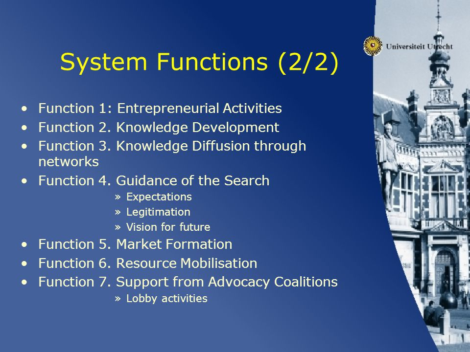 System Functions (2/2) Function 1: Entrepreneurial Activities Function 2. Knowledge Development Function 3. Knowledge Diffusion through networks Funct