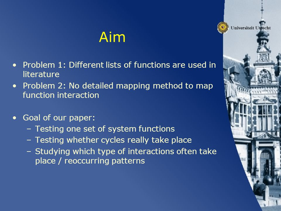 Aim Problem 1: Different lists of functions are used in literature Problem 2: No detailed mapping method to map function interaction Goal of our paper