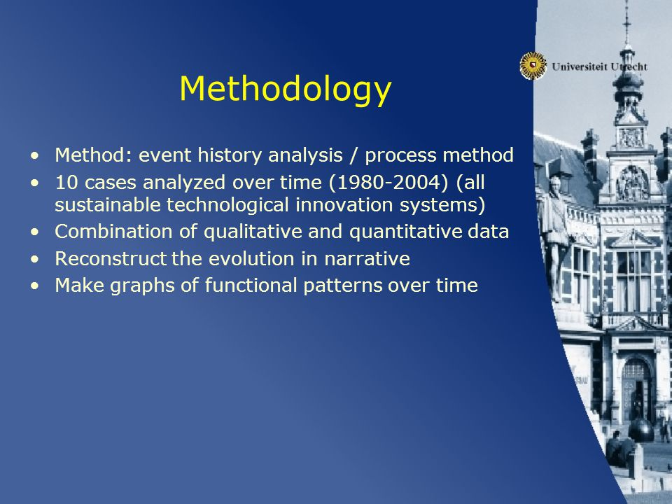 Methodology Method: event history analysis / process method 10 cases analyzed over time (1980-2004) (all sustainable technological innovation systems)