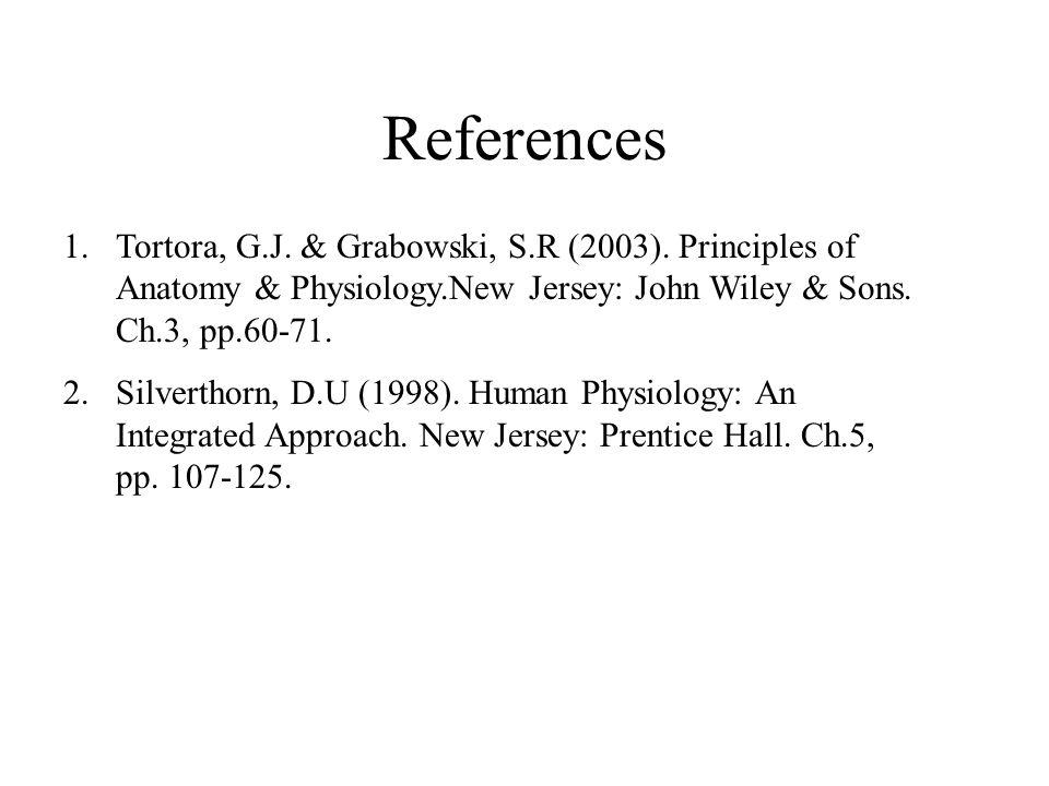 References 1.Tortora, G.J. & Grabowski, S.R (2003).