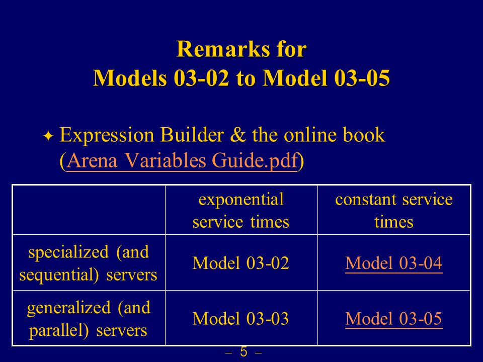  5  Remarks for Models 03-02 to Model 03-05  Expression Builder & the online book (Arena Variables Guide.pdf)Arena Variables Guide.pdf generalized (and parallel) servers specialized (and sequential) servers constant service times exponential service times Model 03-05Model 03-03 Model 03-04Model 03-02