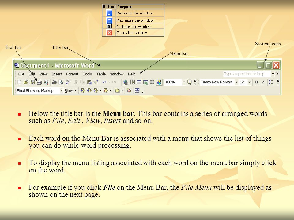 Below the title bar is the Menu bar. This bar contains a series of arranged words such as File, Edit, View, Insert and so on. Below the title bar is t