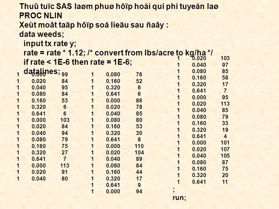 Thuû tuïc SAS laøm phuø hôïp hoài qui phi tuyeán laø PROC NLIN Xeùt moât taäp hôïp soá lieäu sau ñaây : data weeds; input tx rate y; rate = rate * 1.12; /* convert from lbs/acre to kg/ha */ if rate < 1E-6 then rate = 1E-6; datalines; 1 0.000 99 1 0.020 84 1 0.040 95 1 0.080 84 1 0.160 53 1 0.320 6 1 0.641 6 1 0.000 103 1 0.020 84 1 0.040 94 1 0.080 79 1 0.160 75 1 0.320 27 1 0.641 7 1 0.000 113 1 0.020 91 1 0.040 80 1 0.080 76 1 0.160 52 1 0.320 6 1 0.641 6 1 0.000 86 1 0.020 78 1 0.040 85 1 0.080 80 1 0.160 53 1 0.320 30 1 0.641 8 1 0.000 110 1 0.020 104 1 0.040 89 1 0.080 84 1 0.160 44 1 0.320 17 1 0.641 9 1 0.000 94 1 0.020 103 1 0.040 97 1 0.080 85 1 0.160 58 1 0.320 17 1 0.641 7 1 0.000 95 1 0.020 113 1 0.040 85 1 0.080 79 1 0.160 33 1 0.320 19 1 0.641 4 1 0.000 101 1 0.020 107 1 0.040 105 1 0.080 87 1 0.160 75 1 0.320 20 1 0.641 11 ; run;