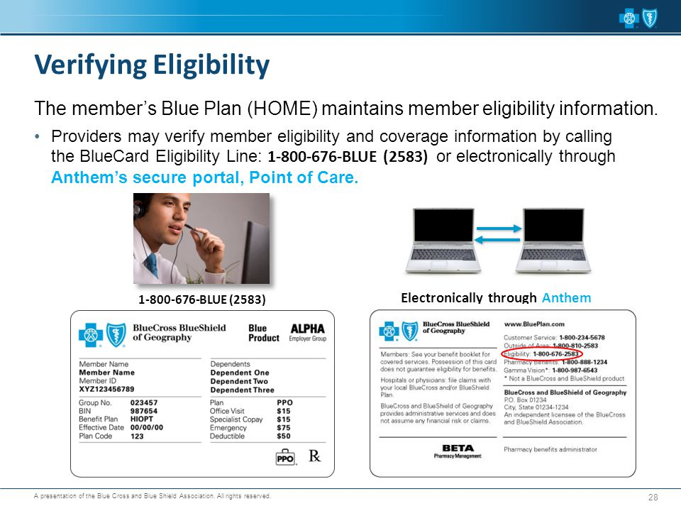A presentation of the Blue Cross and Blue Shield Association. All rights reserved. Providers may verify member eligibility and coverage information by