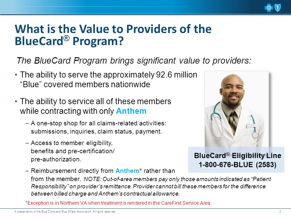 "A presentation of the Blue Cross and Blue Shield Association. All rights reserved. The ability to serve the approximately 92.6 million ""Blue"" covered"