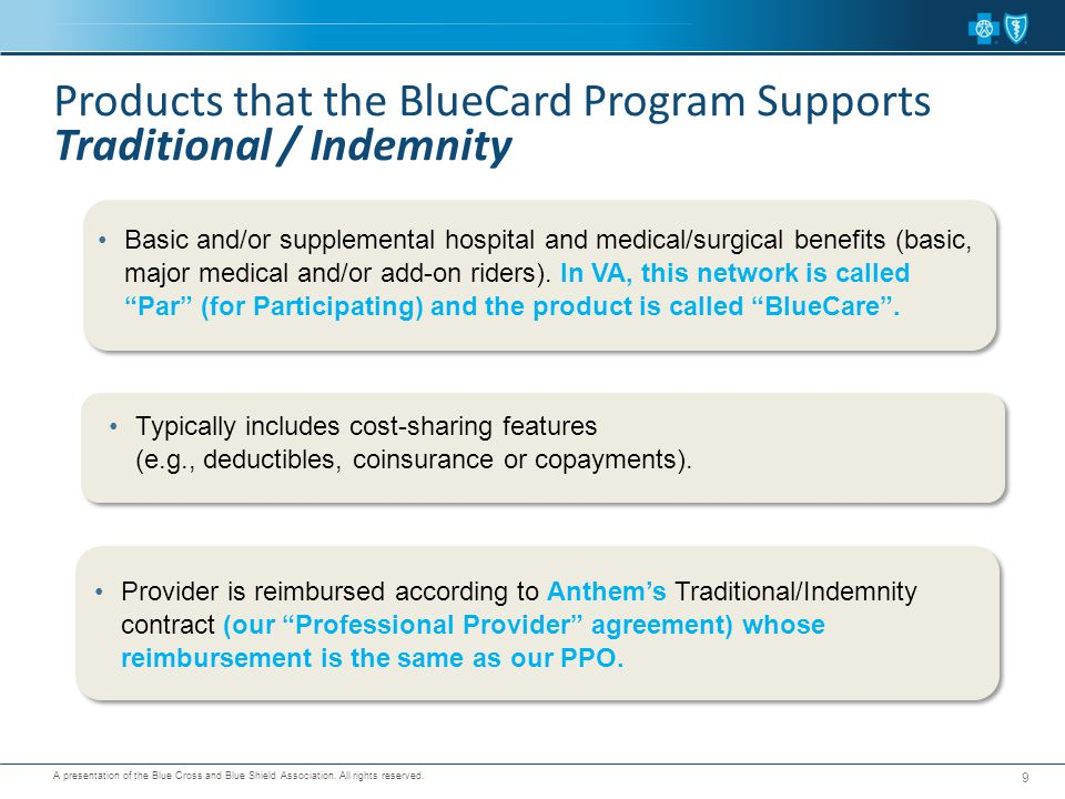 A presentation of the Blue Cross and Blue Shield Association. All rights reserved. 9 Typically includes cost-sharing features (e.g., deductibles, coin