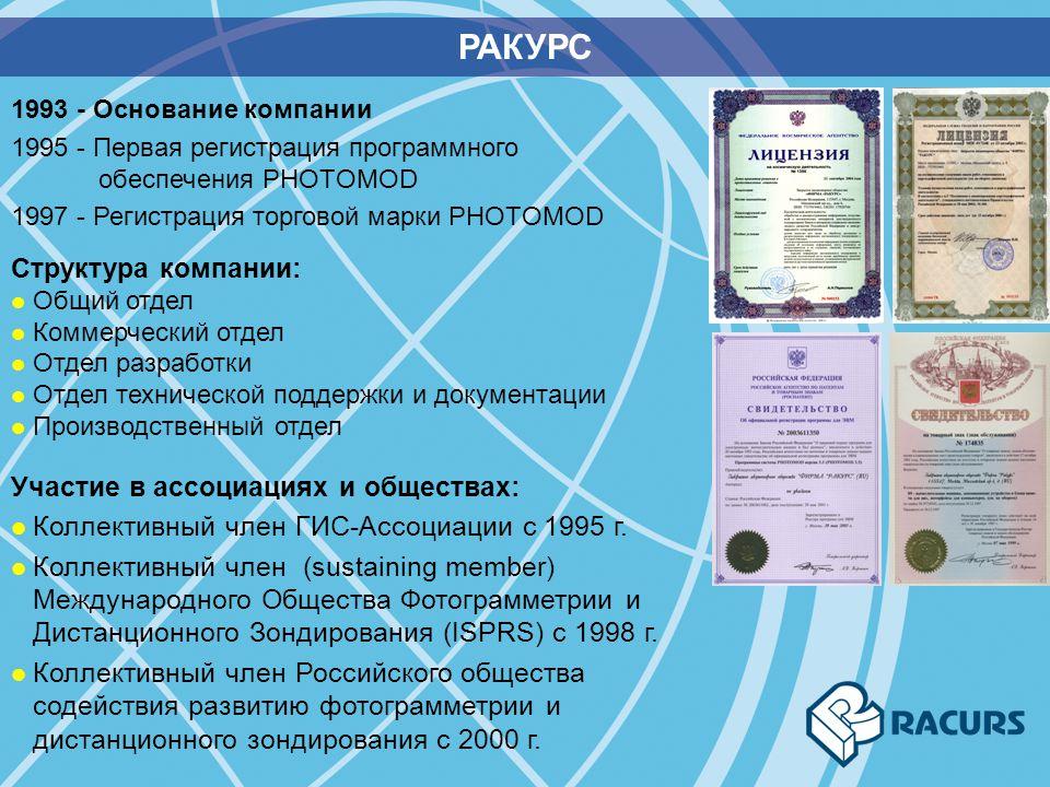 РАКУРС 1993 - Основание компании 1995 - Первая регистрация программного обеспечения PHOTOMOD 1997 - Регистрация торговой марки PHOTOMOD Участие в ассо