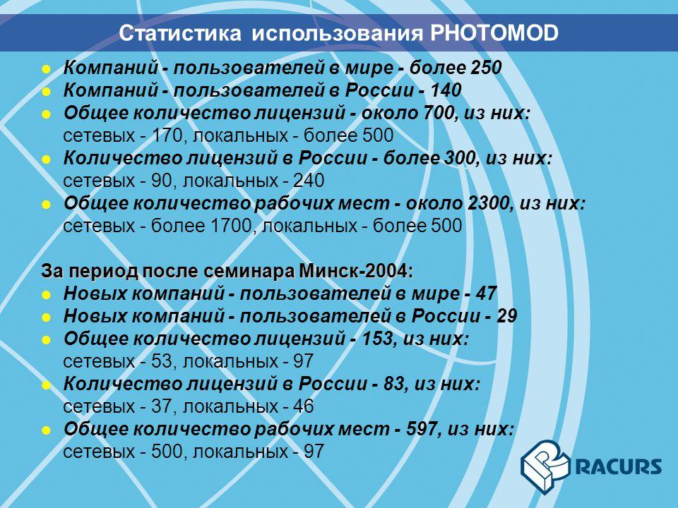 l Компаний - пользователей в мире - более 250 l Компаний - пользователей в России - 140 l Общее количество лицензий - около 700, из них: сетевых - 170