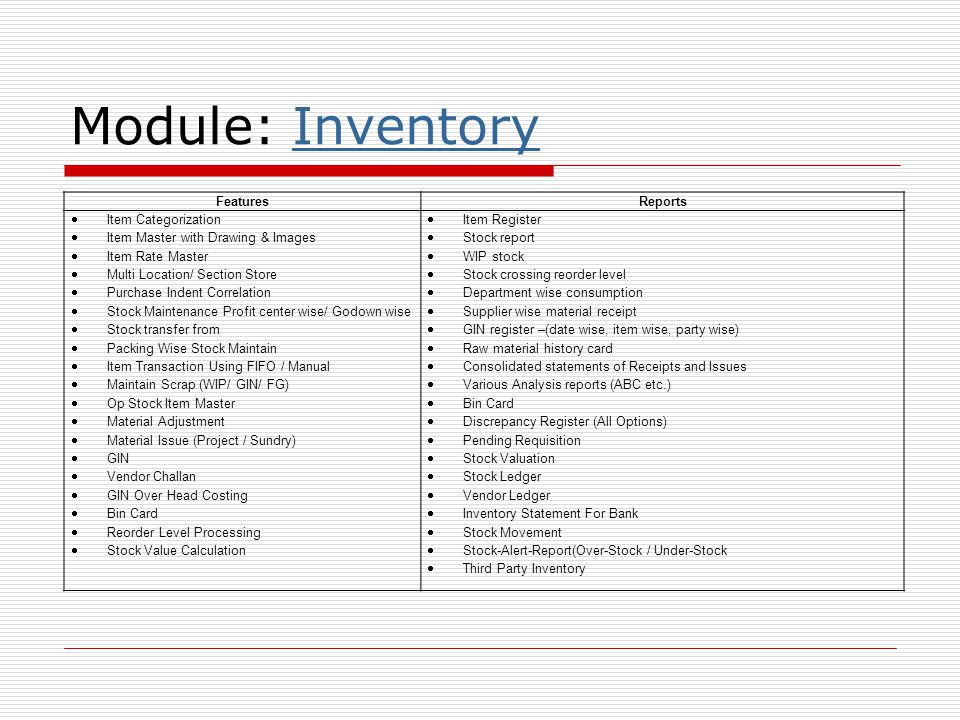 Module: InventoryInventory FeaturesReports  Item Categorization  Item Master with Drawing & Images  Item Rate Master  Multi Location/ Section Stor