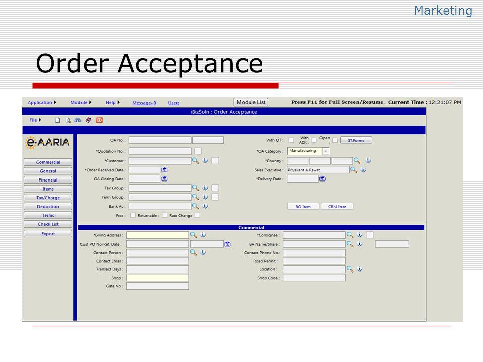 Order Acceptance Marketing