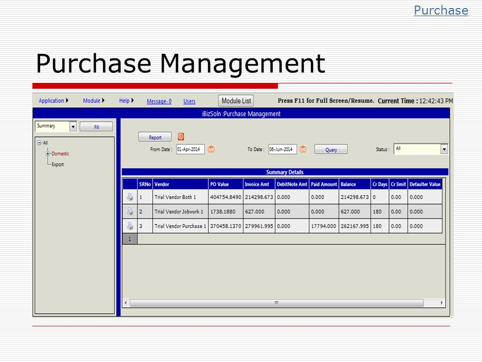 Purchase Management Purchase