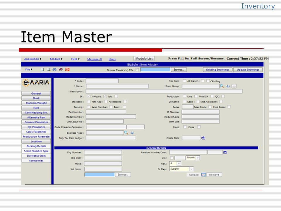 Item Master Inventory