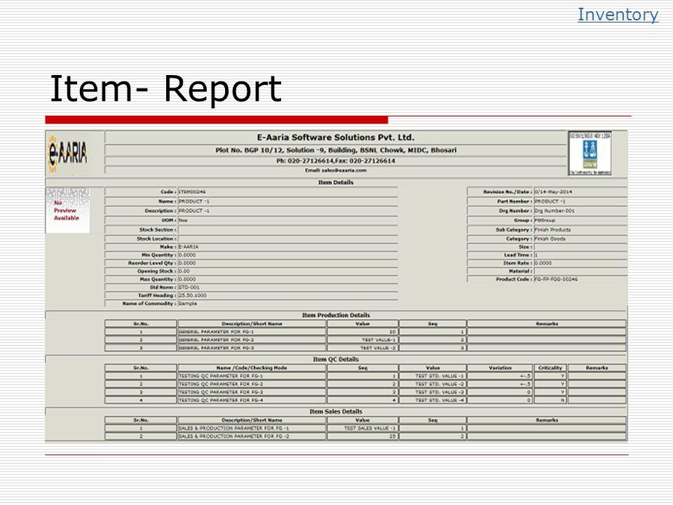 Item- Report Inventory