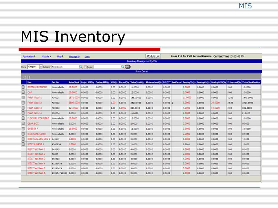 MIS Inventory MIS