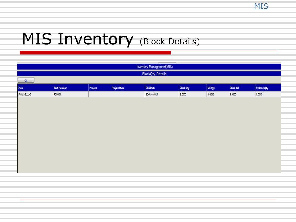 MIS Inventory (Block Details) MIS