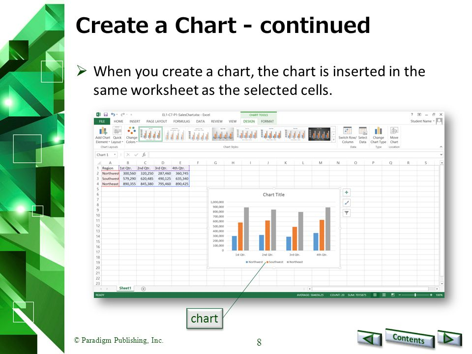 © Paradigm Publishing, Inc.9 Create a Chart - continued To resize a chart: 1.Select chart.