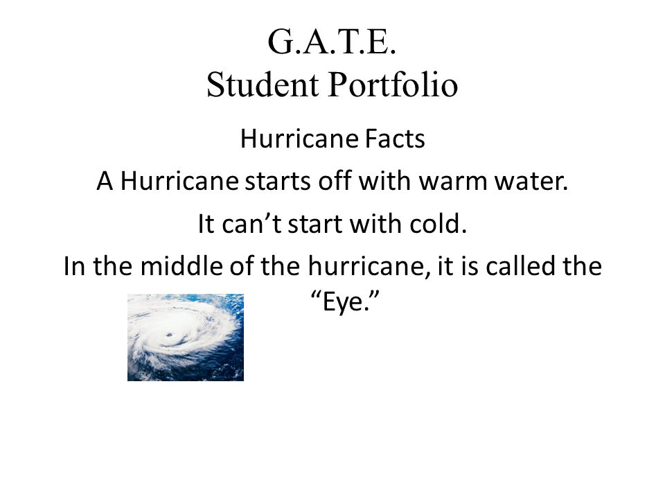 G.A.T.E. Student Portfolio Hurricane Facts A Hurricane starts off with warm water.