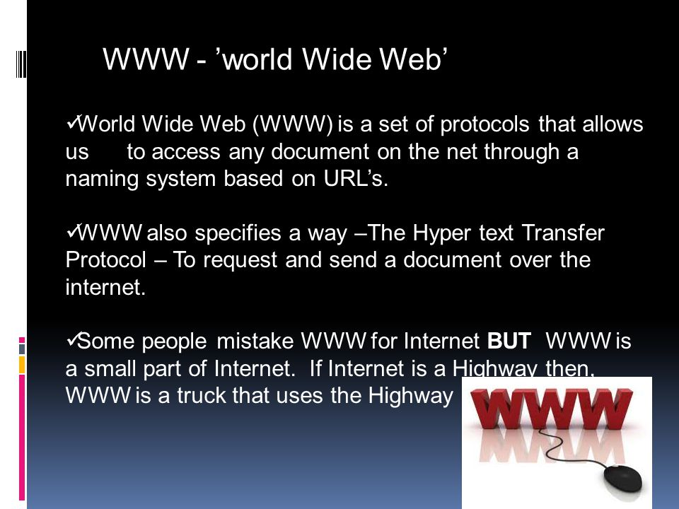 Internetworking Terms and concepts In this section we will be dealing with: 1. WWW (World Wide Web). 2. Telnet. 3. Web Browsers and Servers. 4. URL(Un