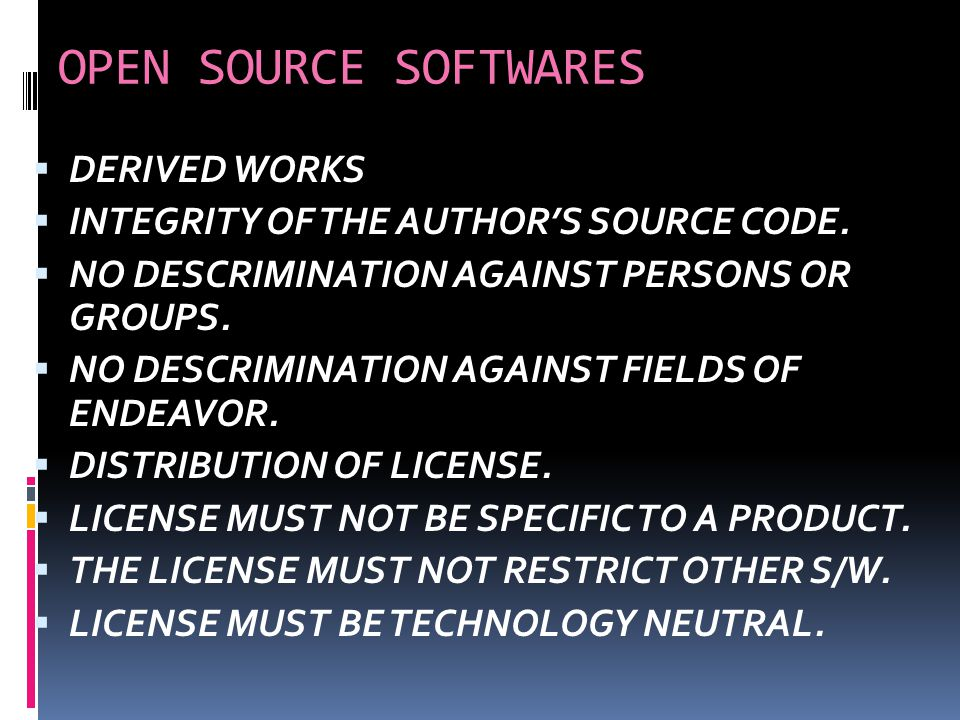 OPEN SOURCE SOFTWARES OPEN SOURCE SOFTWARE CAN BE FREELY USED BUT IT DOES NOT HAVE TO BE FREE OF CHARGE. IN CASE OF OPEN SOURCE S/W,THE SOURCE CODE IS