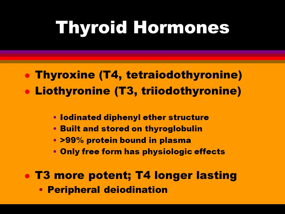 Thyroid Hormones l Thyroxine (T4, tetraiodothyronine) l Liothyronine (T3, triiodothyronine) Iodinated diphenyl ether structure Built and stored on thy