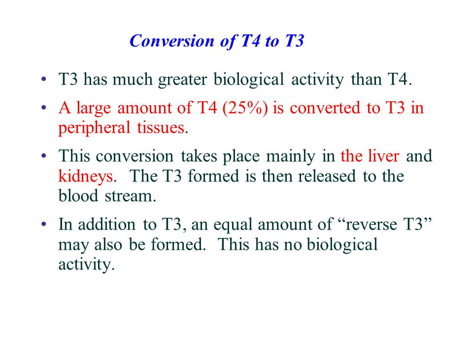 T3 has much greater biological activity than T4. A large amount of T4 (25%) is converted to T3 in peripheral tissues. This conversion takes place main