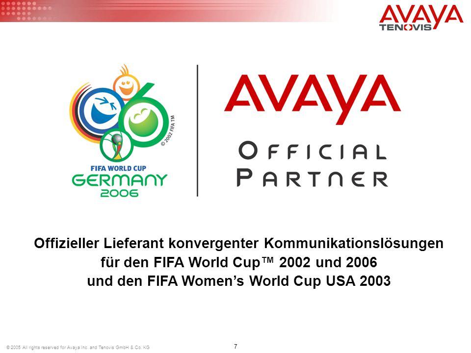 Offizieller Lieferant konvergenter Kommunikationslösungen für den FIFA World Cup™ 2002 und 2006 und den FIFA Women's World Cup USA 2003 7 © 2005 All rights reserved for Avaya Inc.