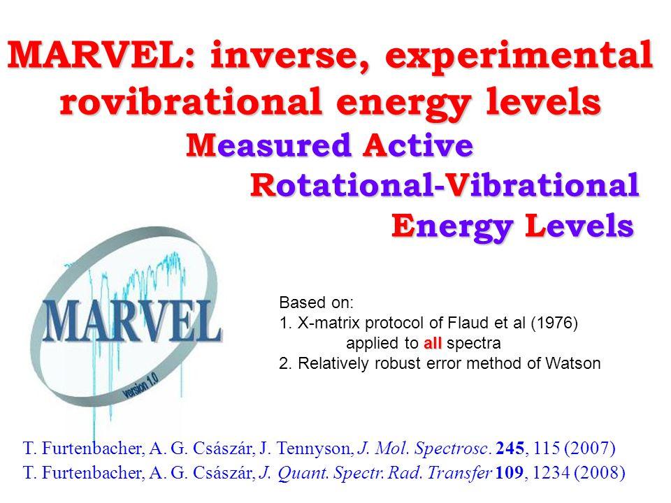 MARVEL: inverse, experimental rovibrational energy levels Measured Active Rotational-Vibrational Energy Levels Rotational-Vibrational Energy Levels T.