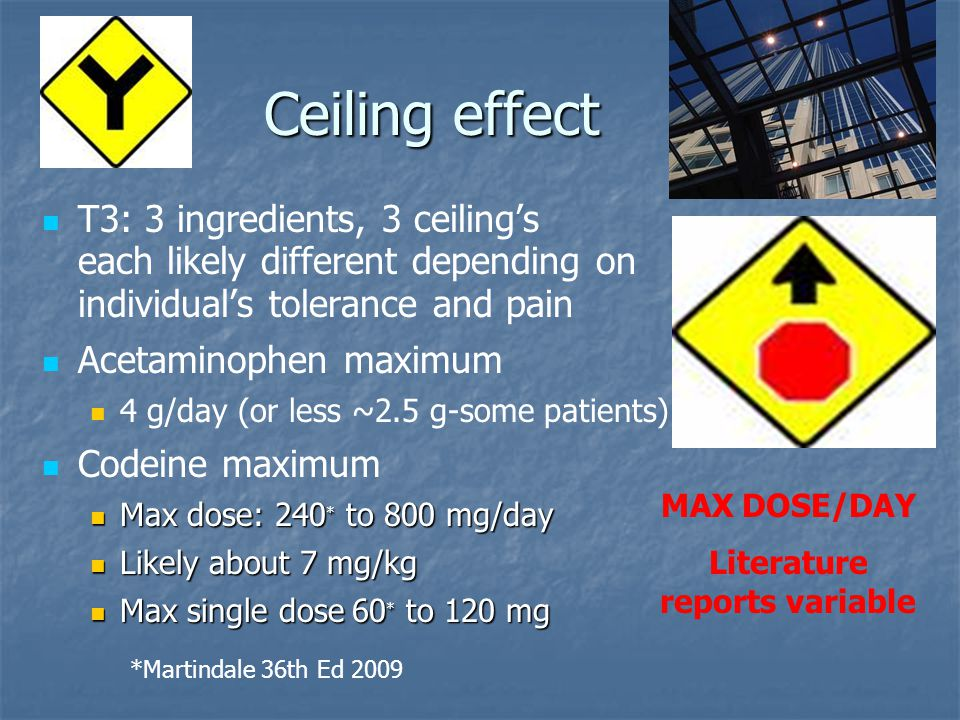 Ceiling effect T3: 3 ingredients, 3 ceiling's each likely different depending on individual's tolerance and pain Acetaminophen maximum 4 g/day (or les