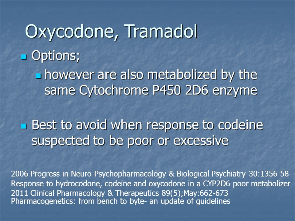 Oxycodone, Tramadol Options; Options; however are also metabolized by the same Cytochrome P450 2D6 enzyme however are also metabolized by the same Cyt